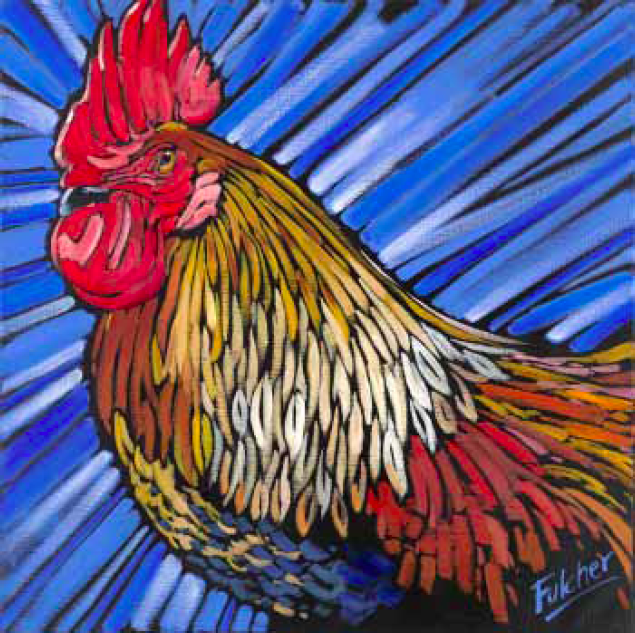 """Cock of the Walk"" 24 x 24 Oil on canvas $2,736"